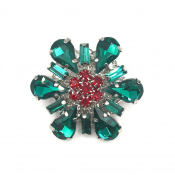 Image of Floral rhinestone button